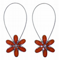 SET OF 2 MAGNETIC ORANGE FLOWER CRYSTAL VOILE NET CURTAIN TIEBACKS £8.95